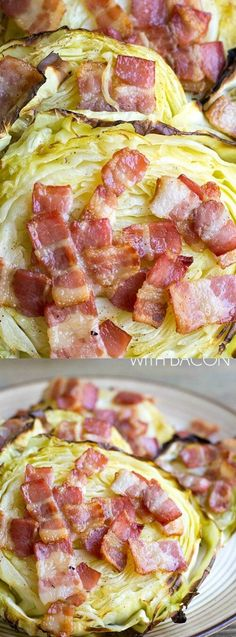 This Roasted Cabbage with Bacon from Bread Booze Bacon is an easy side dish that's perfect alongside any meal! Grill up sliced cabbage then slap bacon or garlic all over, letting the juices completely coat it!