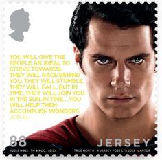 [Philatélie] Série spéciale de six timbres Superman par la Poste de Jersey, sept. 2013 2/6 © Jersey Post, DR.