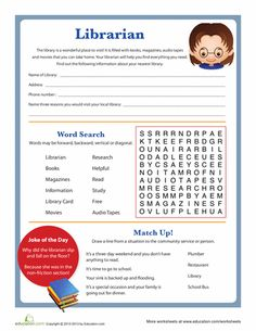 """Along with a couple library related word games, this fun worksheet has your child do a little research on the place he can call """"my library. Library Games, Library Book Displays, Library Bulletin Boards, Library Activities, Library Ideas, School Library Lessons, Library Lesson Plans, Library Skills, Elementary Library"""