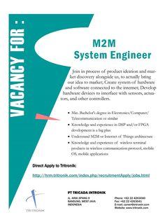 DIBUKA peluang #karier System Engineer dari Tricada Intronik >>  https://karir.itb.ac.id/job_details/43174 DEADLINE: 14Okt #itbcc