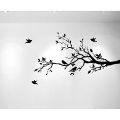 Innovative Stencils Tree Branches with Leaves and Love Birds Wall Decal Color: Black