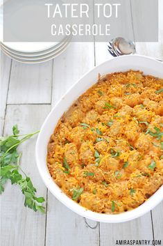 The best tater tot casserole with ground beef. An easy recipe to clean your fridge, freezer and even your pantry. Can be made with chicken, turkey, beef or leftover green beans as well. Best Tater Tot Casserole, Ground Beef Casserole, Halal Recipes, Lamb Recipes, Easy Weeknight Dinners, Easy Meals, Easy Dinner Recipes, Great Recipes, Dinner Dishes