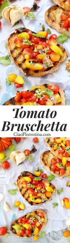 Tomato Bruschetta Recipe, the easy, authentic Italian appetizer made with heirloom tomatoes and fresh basil