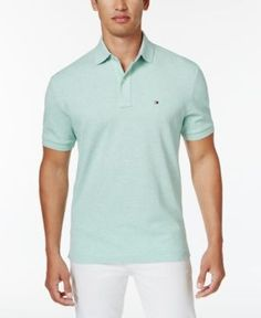 Tommy Hilfiger Men's Big and Tall Solid Ivy Polo - Green 5XLT