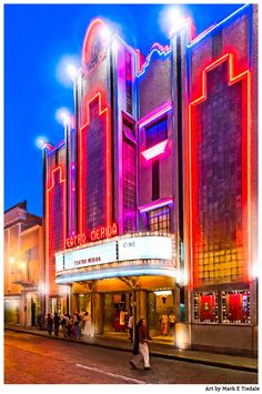 Art Deco Theater Print Streets of Mérida Mexico by Mark E Tisdale - Neon lights of the old Teatro Mérida at night in the Yucatan