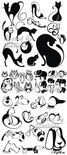 Силуэты животных - кот, собака, сова, слон. Funny Animals Silhouettes Vector