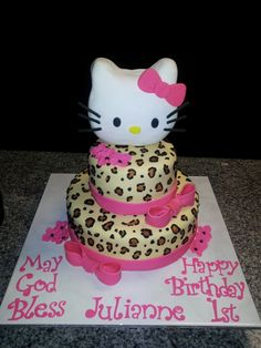 Hello Kitty Cheetah Cake - Strawberry cake covered with fondant, hand painted cheetah design. Hello Kitty head was made from rice crispy treats, fondant & gumpaste.