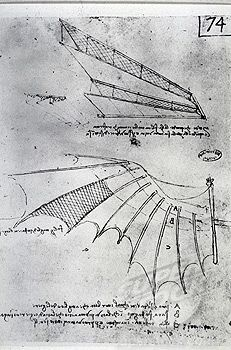 Designs by Leonardo da Vinci for the wings of a flying machine, 15th century.