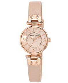 Anne Klein Women's Blush Leather Strap Watch 26mm 10-9442 RGLP $65