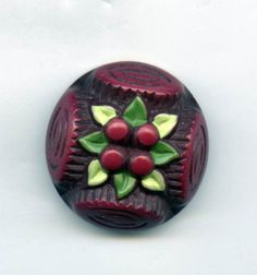 SOLD: Celluloid with painted flower head button large size antique button NICE