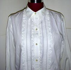 Ralph Lauren White Ruffled Tuxedo Shirt  Vintage by karen6790, $35.00