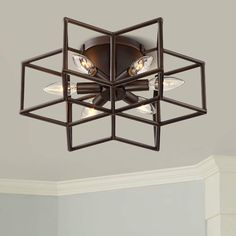 Its oil-rubbed bronze finish stands out in any decor. Family Room Lighting, Home Office Lighting, Bedroom Lighting, Office Ceiling Light, Hallway Ceiling Lights, Ceiling Lighting, Chandelier Lighting, Chandeliers, Flush Mount Lighting