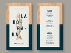La Dorada on Behance - menu design mounted on wood
