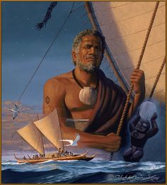 Polynesian Navigator by Herb Kane Hawaiian Legends, Hawaiian Art, Polynesian Art, Polynesian Culture, Hawaii Painting, Aboriginal Culture, Caribbean Art, Aloha Hawaii, Hawaiian Islands