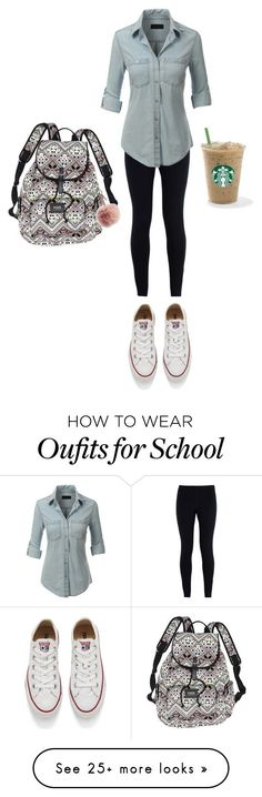 """School day"" by maggiegarrett on Polyvore featuring NIKE, LE3NO, Converse, Victoria's Secret and Fendi"