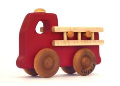 Personalized Wooden Toy - Fire Truck - Waldorf Inspired Natural Wood Toy Fire…