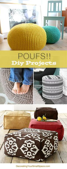DIY poufs are projects that can add double duty decor to your room, with a good dose of on trend design. So check out these DIY pouf tutorials! Diy Projects To Try, Home Projects, Home Crafts, Diy And Crafts, Sewing Projects, Diy Projects For Bedroom, Crochet Projects, Craft Projects, Do It Yourself Design