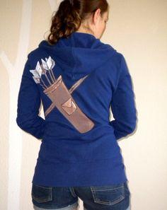 Archery Hoodie Navy Blue Katniss Link Arrow Jacket by calicoowls