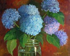 Arte del Bodegón floral azul Hortensia por OilPaintingsByCheri