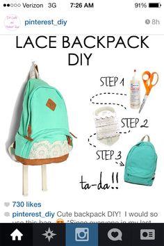 DIY. Backpack. Design. Lace. Cute.