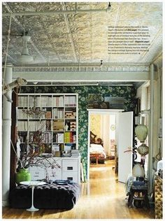 pressed tin ceilings steal the show in this room. so reflective and therefore glamorous. Idea; press tin your entry way ceilings, especially if you live in an old house, the textural contrast between wooden floors and tin ceiling will be dramatic