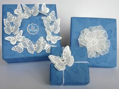 Gift Wrapping Presents | Flickr - Photo Sharing! Heat embossed (white)  vellum butterflies & flower