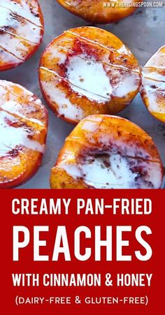 A simple yet heavenly dessert with ripe local peaches coconut milk cinnamon and raw honey. If you need a quick easy and healthy summer dessert recipe that's gluten-free and dairy-free make this today! Summer Dessert Recipes, Healthy Dessert Recipes, Fruit Recipes, Real Food Recipes, Healthy Snacks, Blueberry Recipes, Easy Summer Desserts, Healthy Desserts With Fruit, Easy Recipes