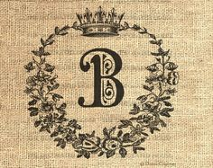 Vintage DIGITAL Download Monogram Crown Personalized Initial. Iron On Transfer, Burlap, Linen, Pillows, Bags 8x8 in. Decorated House. $3.50, via Etsy.  HMMM. I'm liking this. Black on a white toss pillow? I think so!