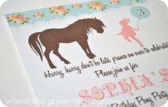 Doing these for Claire's birthday next month! Shabby Chic Vintage Pony Invitation by TheGreenGrassGrows on Etsy, $25.00