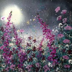 ARTFINDER: Magic in the moonlight by Jane Morgan - The magic of flora in the light of the moon. I have used acrylic paint, inks and glitter to create this on a deep canvas. The sides are painted black, ready ...