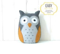 Owl Sewing PATTERN, Felt Stuffed Owl Plushie Hand Sewing Pattern, Yellow and Gray Owl Softie Pattern, Instant Download PDF