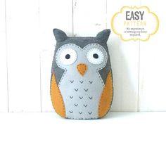 Owl Sewing PATTERN Felt Stuffed Owl Plushie by LittleSoftieShoppe