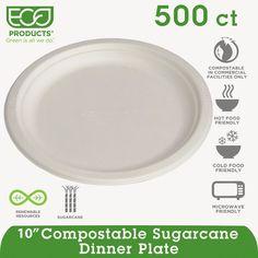 "Eco-Products Renewable & Compostable Sugarcane Plates - 10"" , 50/PK, 10 PK/CT, White"
