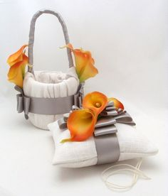 Real Touch Calla Lily Flower Girl Basket and Ring Pillow Set Orange   SongsFromTheGarden - Wedding on ArtFire