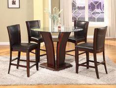 1710 Crown Mark Camelia Counter Height Glass Dining Set Brown - www.furnitureurban.com