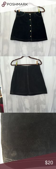 Vintage beauty❤️ Super cool black suede mini with contrast white stitching and silver snaps. There is some minimal wear as shown in pics. Small dime size spot to bottom right front hem. I haven't tried to get it out. Overall very good condition. hugo buscati Skirts Mini