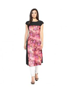 Buy American Crepe Black & Pink Straight Printed Kurti