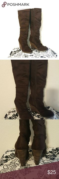 Brown, faux suede over the knee boots 6 Go all day in skinny jeans, boyfriend sweater and these babies! 4 inch, wedge heel, side zip. Rich, warm, chestnut brown. unk Shoes Over the Knee Boots