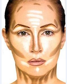 Contouring, and highlighting your face. I know this looks freaky, but it just s… Contouring, and highlighting your face. I know this looks freaky, but it just shows the place to put your bronzer (blended of course.) Hmmm - Das schönste Make-up Le Contouring, Contour Makeup, Contouring And Highlighting, Flawless Makeup, Skin Makeup, Contouring Tutorial, Contour Face, Big Nose Makeup, Shading Makeup