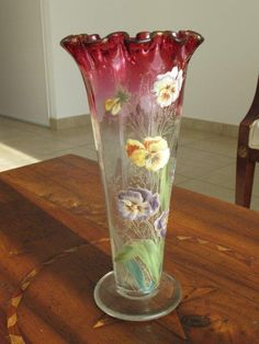 Legras vase vert maill de fleurs en verre souffl vase legras pintere - Vase ancien en verre ...