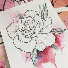Tattoo Sketches, Tattoo Drawings, Art Drawings, Dibujos Tattoo, Desenho Tattoo, Neo Traditional Roses, Traditional Tattoo, Flower Outline, Flower Art