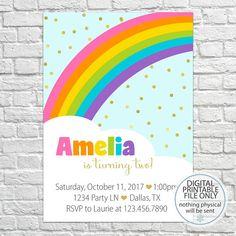 Rainbow Birthday Invitation, Printable Rainbow Invitation, Girl Birthday, Birthday Party Invitation, Birthday Invite, First birthday party