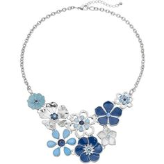 Blue Flower Statement Necklace (76 RON) ❤ liked on Polyvore featuring jewelry, necklaces, blue, flower jewellery, blossom necklace, flower statement necklace, flower jewelry and blue statement necklace