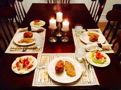Salad, Stuffed Potatoes, and Garlic Parmesan Chicken