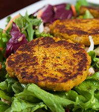 Chickpea and Butternut Squash Fritters with Field Greens