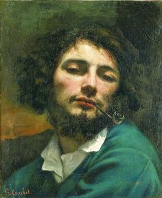 Gustave Courbet, Self-Portrait with Pipe, 1849..Jean Désiré Gustave Courbet (born 10 June 1819 Ornans, Doubs, France – died  31 December 1877 (aged 58) La Tour-de-Peilz, Switzerland) was a French painter who led the Realist movement in 19th-century French painting. The Realist movement bridged the Romantic movement (characterized by the paintings of Théodore Géricault and Eugène Delacroix) with the Barbizon School and the Impressionists......MovementRealism