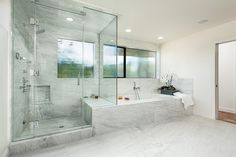 Bowling Green Residence by Hsu McCullough // big shower space + seat