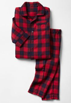 Gap always makes great pajamas for baby and toddler. We love these coordinating sets: a preppy Buffalo Plaid Set for boys ($36.95).