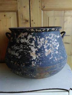 Oude Brocante Pot Kruik Metaal Sleets