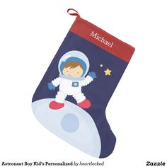 Astronaut Boy Kid's Personalized Small Christmas Stocking